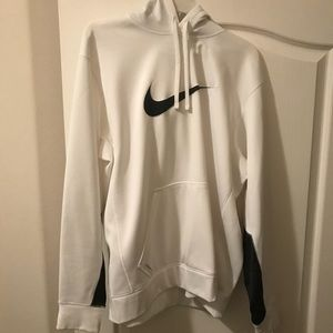 White hoodie with black nike check
